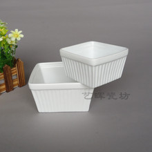 Ceramic square stripe top small food bowl fruit salad bowl(China (Mainland))
