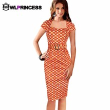 Womens Summer Elegant Dresses Wear To Work Business Casual Party Pencil Sheath Dress Tartan Belted Square Neck Tunic vestidos