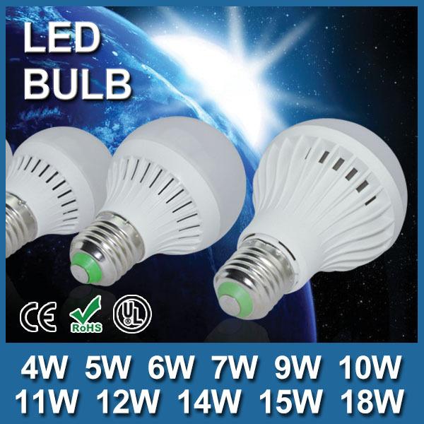Global Free Shipping 100% Quality Guarantee 9pcs/lot High Brightness led lamp e27 220v 4W 5W 6W 7W 9W 10W 12W 14W 15W