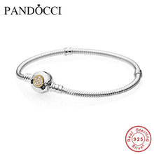 14K Gold Bracelet Compatible With European Jewelry Signature Clasp Bracelets For Women Bracelet Femme 925 Sterling Silver(China (Mainland))
