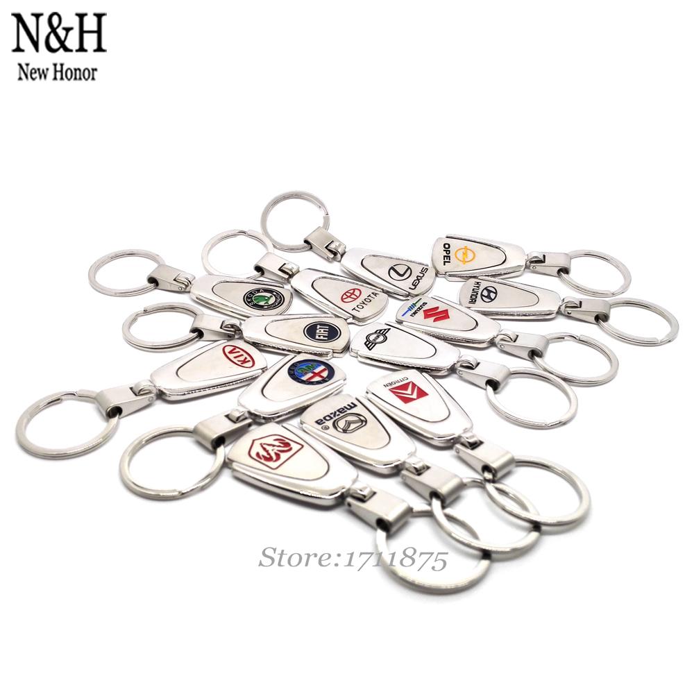 50Pcs Key Chain Holder For Toyota Volvo Skoda Subaru Peugeot Opel Mazda Logo Auto KeyRing Metal KeyChain Badge Key Ring Emblem(China (Mainland))