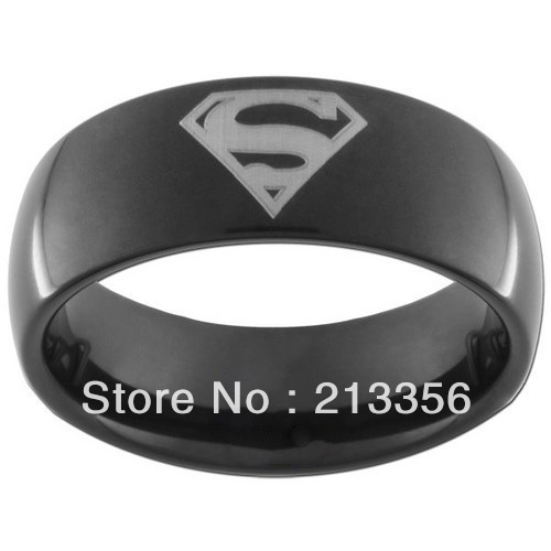 Free Shipping!USA Hot Selling E&C TUNGSTEN JEWELRY Superman Print Black Tungsten Carbide DC Width 8 mm Band Ring US SuperHero(China (Mainland))