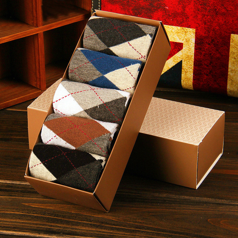 2016 New Hot Sale Free Shipping Summer Plaid Gift Box Men's Socks Business casual Pure cotton High Quality 10pcs=5pairs=1 lot(China (Mainland))