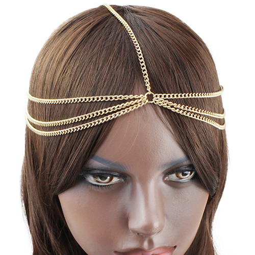 Bluelans Boho Sexy Gold Color Wave Tassel Hairband Chain Crown Cuff Punk Headband(China (Mainland))