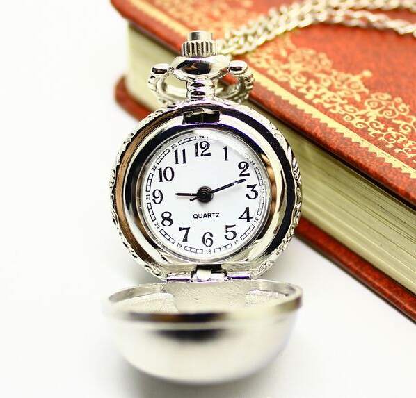 Joker clamshell Small white steel ball retro fashion necklace sweater chain quartz pocket watch XH002