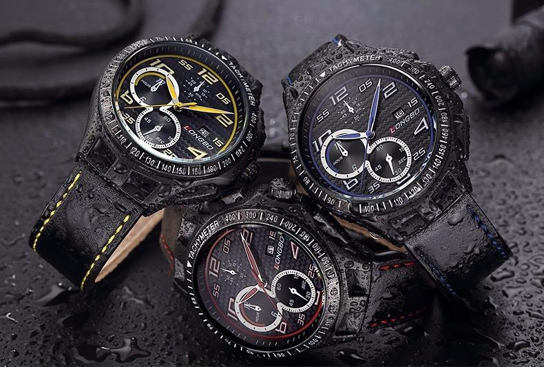 LONGBO Роскошные Мужчины Натуральная Кожа Часы Спортивные Кварцевые Часы Для Мужчин Мужской Досуг Часы Военные Часы Relogio Masculino 80200