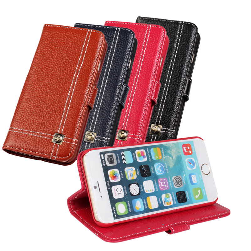 Luxury Genuine Leather Case Cover Wallet stand card slot Flip Phone Cover for iPhone 6 Plus 6s plus 5.5 inch Protective shell(China (Mainland))