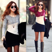 2015 Women Winter Long Sleeve Knitted Jumper Sweater Tops Pullover Dress Casual(China (Mainland))