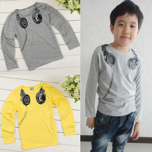 100 Cotton Baby Boys font b Kids b font font b Headphone b font Long Sleeve