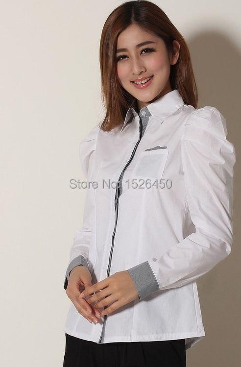 All Cotton Slim Women Blouse Size S-XXL Puff Sleeve Professional Lady Career Shirts Patchwork roupas blusas femininas Free Ship(China (Mainland))