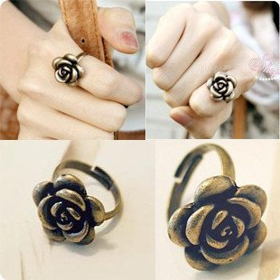 16mm size Fashion vintage style cute rose ring,resizable J1025