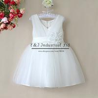 2015 Free Shipping Girl Summer Dresses Pink Big Flower Chiffon Wedding Girl Dress Top Grade Children Wear Kidsdress