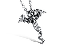 Personality Cool Stainless Steel Long Pendant Necklace Pterosaur Sword Jewelry Men Necklace Dragon Punk Necklace 2015