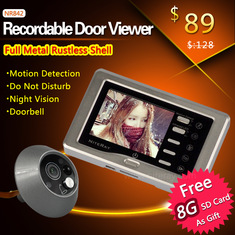 Silver Record video peephole door camera door eye viewer with motion detection