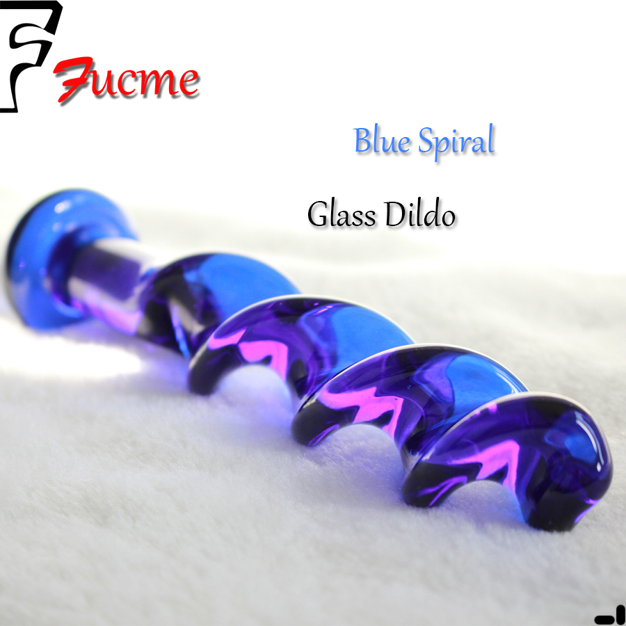 Голубая спираль кристалл пенис женской мастурбации гладкие стекло прикладом плагин Addict палка здоровья взрослых поставляет фаллоимитатор
