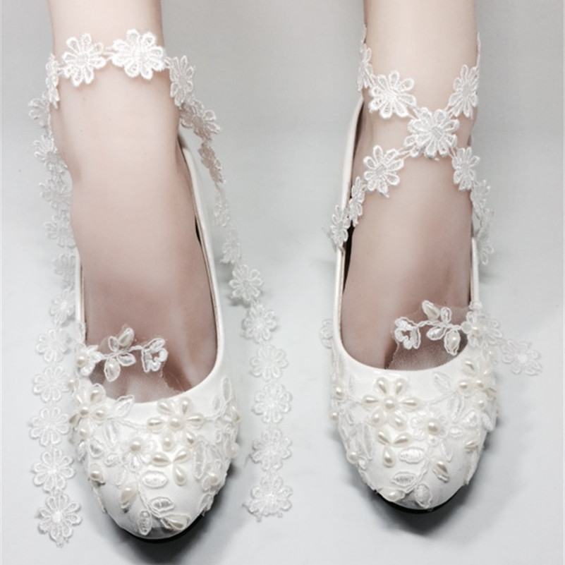 Low Heels Women Ivory White Lace Wedding ShoesDream Bridal Evening Prom Small HeelsUS Size 4 5