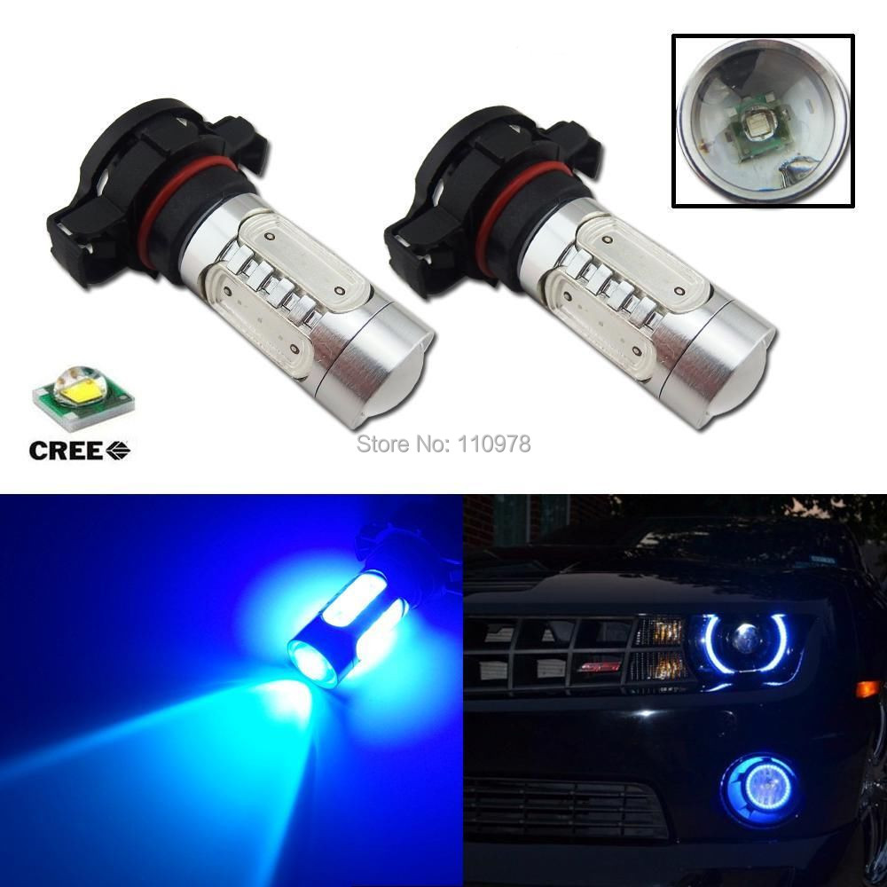 buy 2pcs blue amber h16 5202 cree 11w cob led replacement bulbs for car auto. Black Bedroom Furniture Sets. Home Design Ideas
