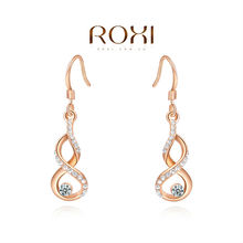 ROXI Free Shipping Christmas Gift Calabash Earrings For Women Brincos Grandes Rose Gold Plated Earrings Fashion Jewelry (China (Mainland))