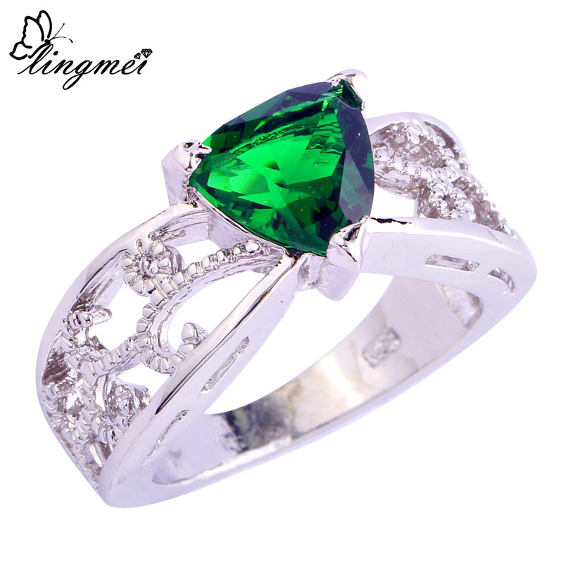 Fashion Party Jewelry Triangle Cut AAA Cubic Zirconia Silver Ring Women Rings Size 6 7 8 9 10 11 12 - lingmei Official Store store