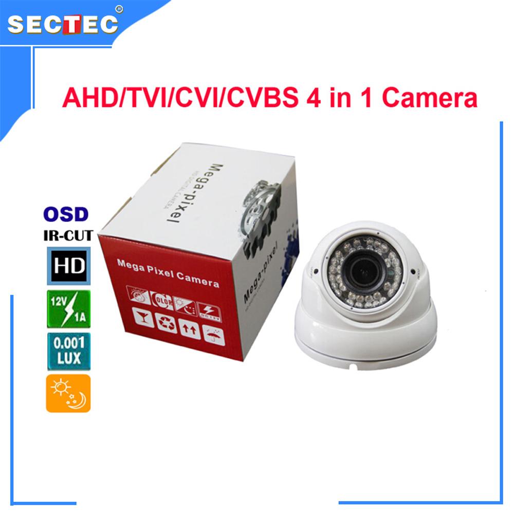 720P AHD/TVI/CVI/ 800TVL CVBS 4 in 1 Camera with IR CUT, OSD 3.0 Mega pixel 2.8-12mm varifocal lens Metal IR Dome Camera(China (Mainland))