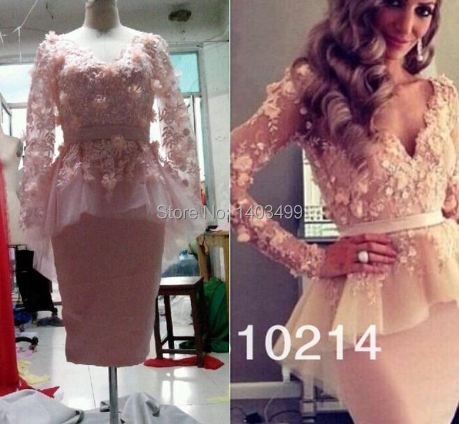 Made China 2014 Party Dresses Sheath Tulle Appliques Peplum V-Neck Open Back Long Sleeve Knee-Length Sexy Cocktail - Relia Wedding & Events store