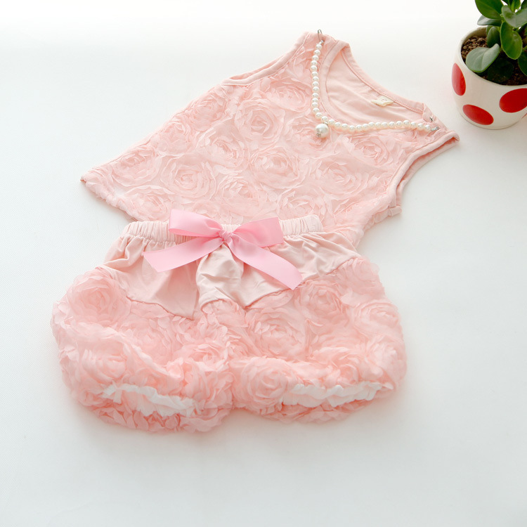 [BOS.] R1 Free shipping 2015 New arrival children girl summer clothing set baby girls rose 2pcs set pink floral vest +pants suit(China (Mainland))