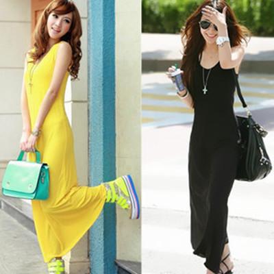 Bohemia summer spaghetti strap full dress fashion one-piece dress vest basic one-piece dress sleeveless one-piece dress