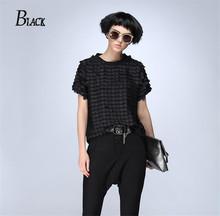 BLACK Summer 2016 Fashion Women Shirts original character dot Printed O-neck Short Sleeve Shirt Casual Black Brand Tops(China (Mainland))