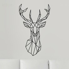 Buy CaCar New Design Geometric Deer Head Wall Sticker Geometry Animal Series Decals Vinyl Wall Art Custom Home Decor Size L/51*86CM for $1.15 in AliExpress store