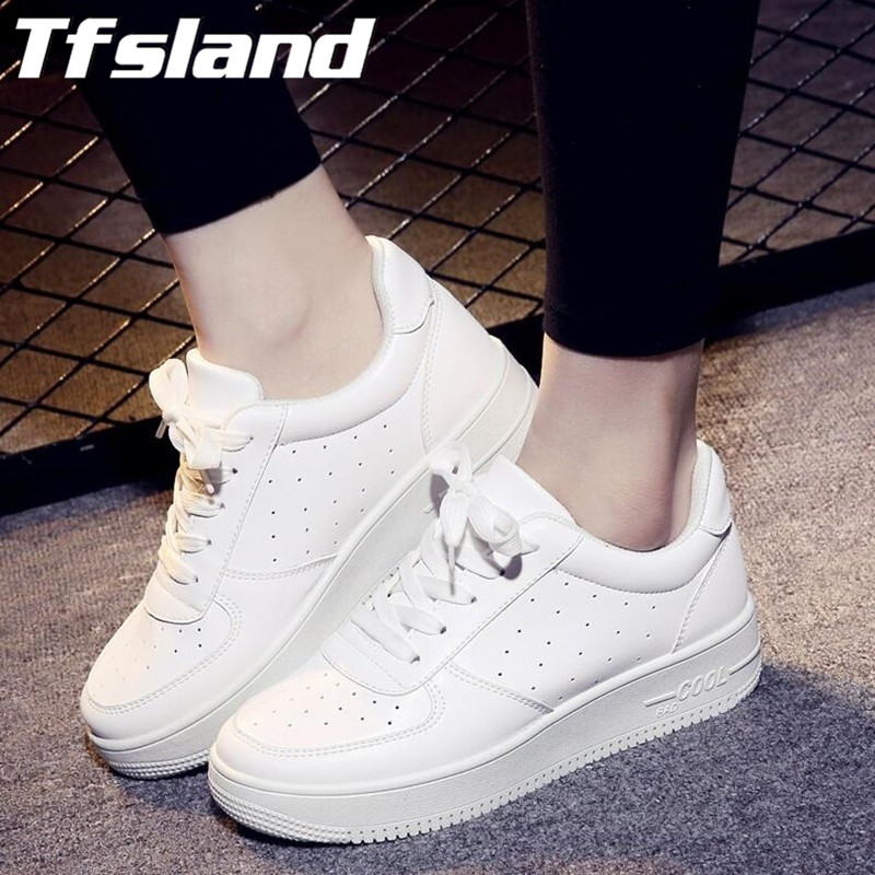 Tfsland Women Breathable Platform White Tennis Shoes Feminino Chaussure Femme Shoes Zapatos Mujer Basket Sneakers Christmas Gift(China (Mainland))