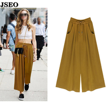 -$2 JSEO-Women's Summer Harem Pants Casual Loose Cotton Blended Pleated Pockets Solid Elastic Waist Wide Leg Pants Plus Size(China (Mainland))