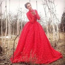 Engagement Dress Robe De Soiree High Neck Floor Length Long Sleeve Lace Evening Dress A-Line Long Red Evening Dress(China (Mainland))
