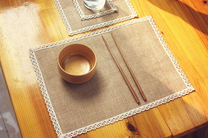 8pcs Natural jute burlap arming hot insulation place mat, Japanese-style table mat bowls mat coasters placemats literary doily(China (Mainland))