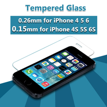 0.15mm 9H Clear Front Tempered Glass For iPhone 4 4S 5 6 S Screen Protector Toughened Glass Film With Clean Tools