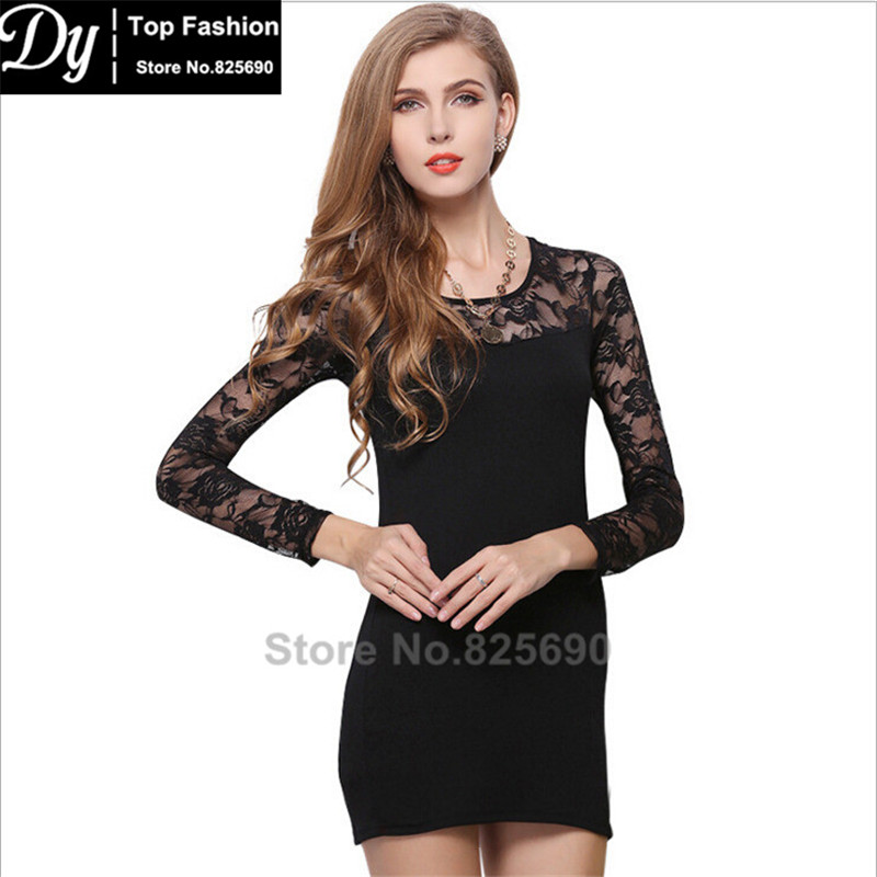 Fashion New Women's Dresses Long Sleeve Lace Slim Summer Pretty Space Cotton Dresses Slim For Girl Party Dress Vestidos(China (Mainland))