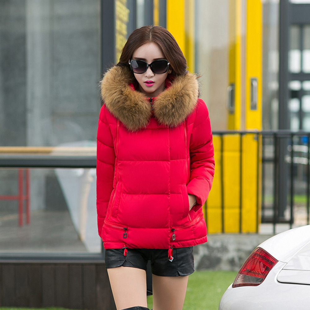 2016 Fashion Cotton Down Coat For Women Winter Warm Fur Hooded Down Jacket Full Sleeve Female Short Parkas Multicolor Clothes(China (Mainland))