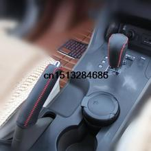 Genuine leather sew on handbraker gear cover set auto accessories for Hyundai IX35 Accessories Automatic
