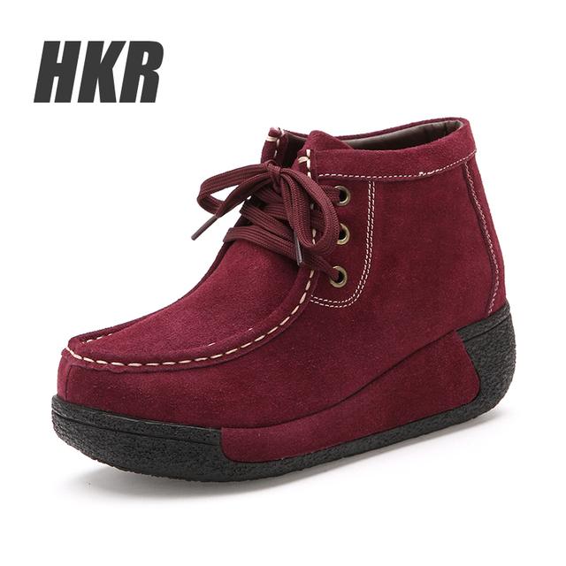 HKR 2015 Женщины зима лодыжки ботинки женщин замши высокие резиновые сапоги мотоцикл ...