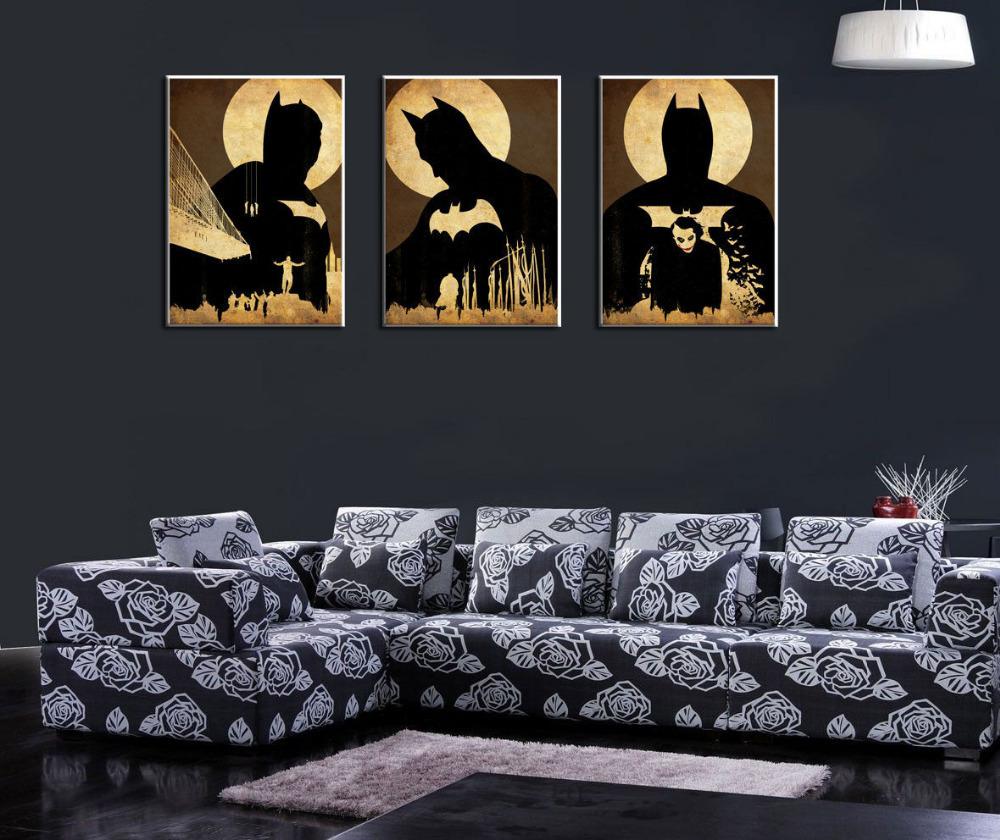 OIL PAINTING MODERN ABSTRACT WALL DECOR ART CANVAS Batman trilogy 3P(No stretch) - wei bai's store