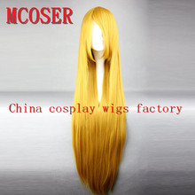 MCOSER100 Cm Harajuku Anime Cosplay Wigs Young Long Straight Synthetic Hair Wig Blonde Costume Party Wigs For Women 22 Colors(China (Mainland))
