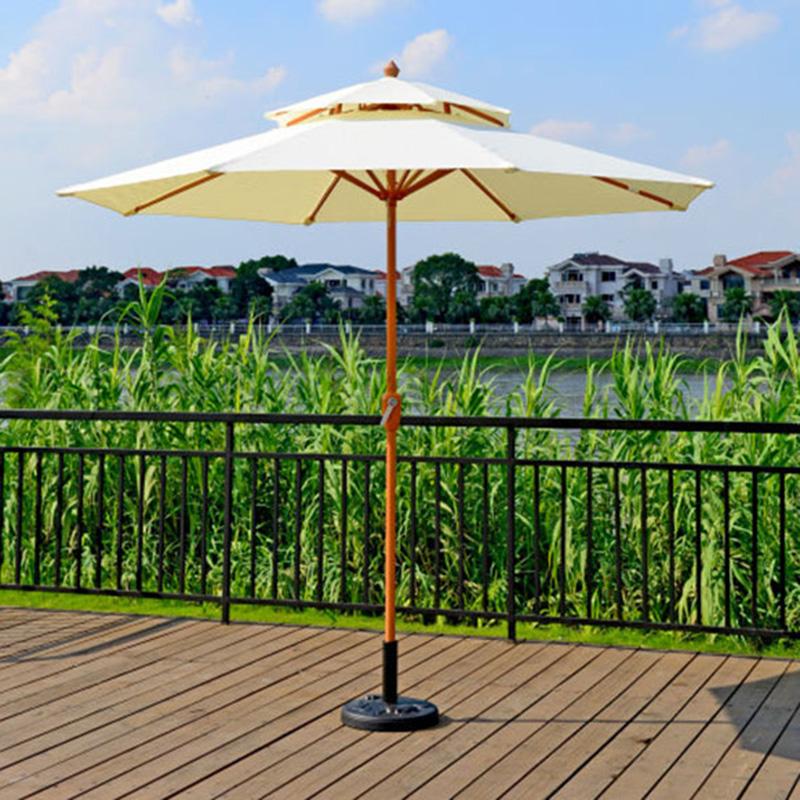 Outdoor sun umbrella double top in the column beach courtyard garden Beige<br><br>Aliexpress