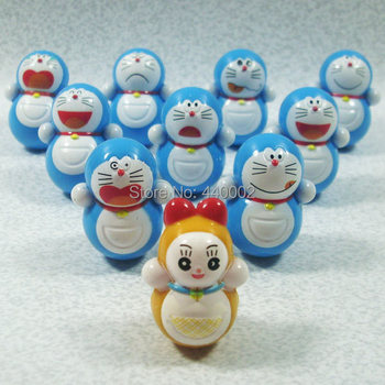 3Sets New arrival Anime Doraemon Tinker Bell Cute PVC Action Figure Roly-poly Toys 10 PCS/SET Free shipping