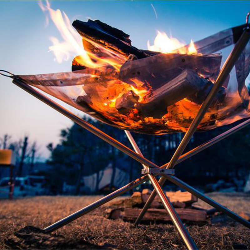 Solid Fuel Lightweight Folding Stoves Outdoor BBQ Portable Wood Stove with Mesh Stainless Steel Backpack Camping Stove(China (Mainland))