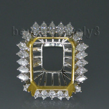 Vintage Emerald Cut 14x18mm Platinum PT900 Semi mount Ring WU081(China (Mainland))