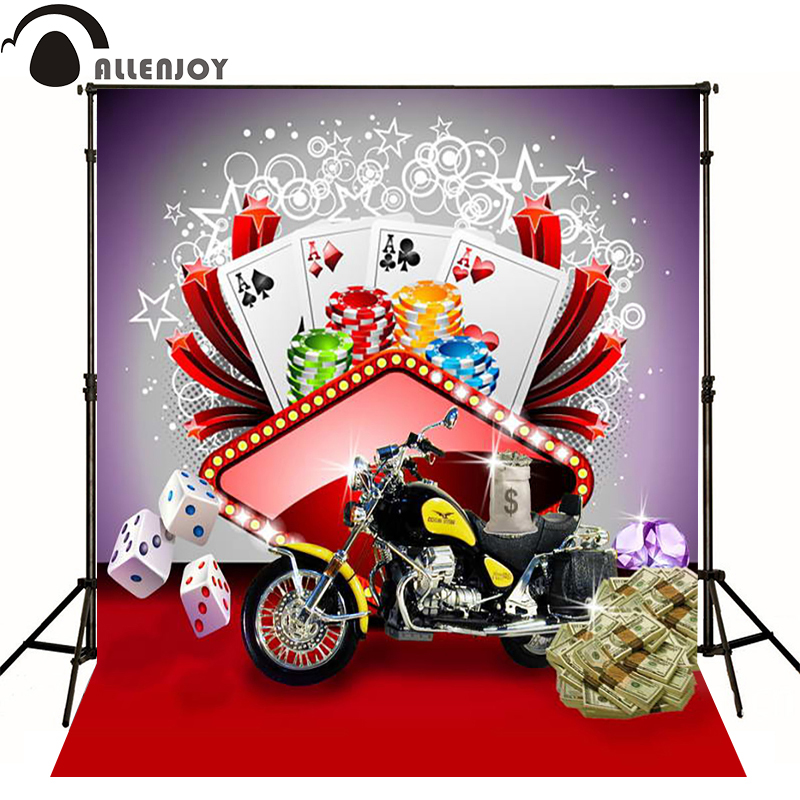 Allenjoy photographic background Locomotive dollar poker casino dice photo backdrops for sale professional fabric private party(China (Mainland))