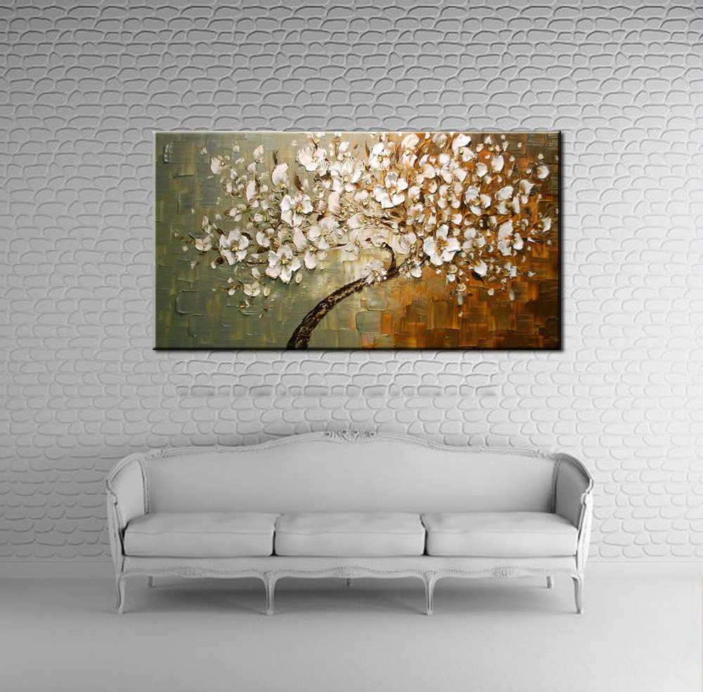 Buy Large abstract modern canvas wall art hand painted Knife paint  tree oil painting blossom on canvas for living room decoration cheap