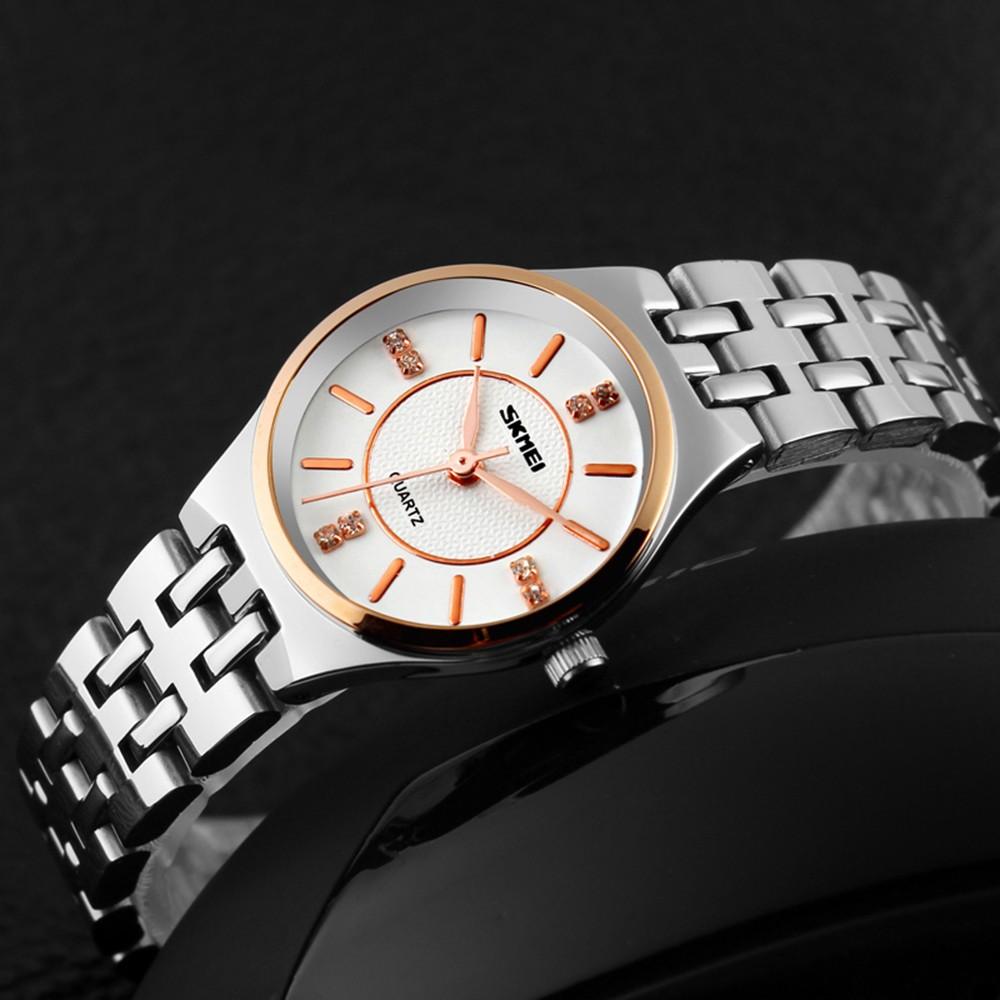 Женщины Водонепроницаемый Skmei Мода Кварцевые Случайных Деловая часы Часы Стальной Ленты Наручные Часы