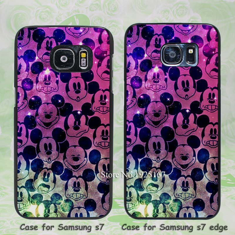 cute mickey mouse in color space Pattern hard black Case Cover for Samsung Galaxy s3 s4 s5 mini s6 s7 edge(China (Mainland))