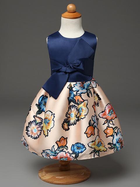 Pageant платья для маленьких девочек печати цветок девочки платья реальные фото хлопок ...