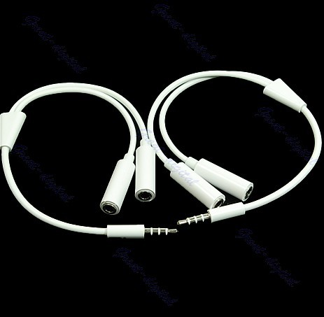 "Y92-""Free Shipping 10pcs/lot 1 Male to 2 Female Audio Extension Cable For iPhone(China (Mainland))"